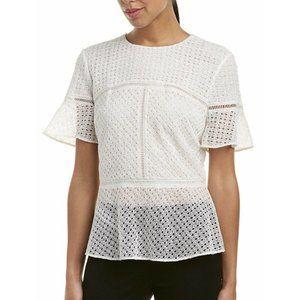 Escada White 100% Silk Peplum Top Blouse Size 36 S